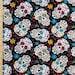 Sugar Skull Fabric, The Day of the Dead Fabric, Dia De Los Muertos Sugar Skulls Print Fabric, 100% Cotton Fabric by the Yard
