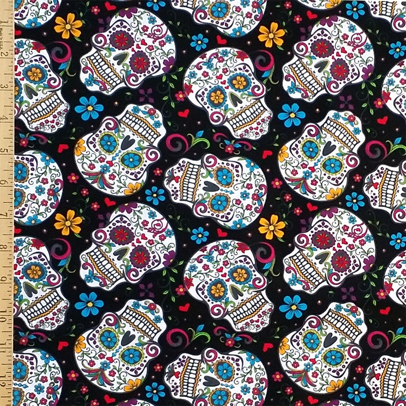 Sugar Skull Fabric The Day of the Dead Fabric by ...