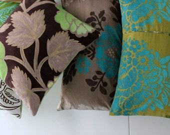 Designer Guild / 4 CUSHIONS / covers reversible / Hand made in France / high quality fabrics / lace / burlap canvas 150124