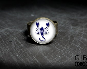 Scorpio Ring Zodiac Scorpio Adjustable Ring Scorpio Astrology Jewelry Scorpio Birthday Ring Scorpio Jewelry Zodiac Scorpio Glass Ring Zodiac