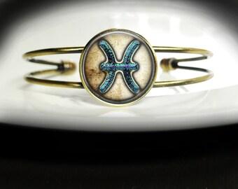 Pisces Astrology Bracelet Pisces Astrology Pendant Gift - Pisces Birthday Gift Bracelet - Pisces Bangle Jewelry - Pisces Bracelet Bangle