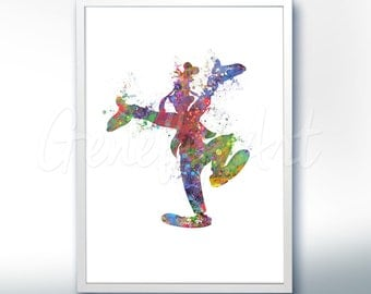 Disney Goofy Watercolor Poster Print - Wall Decor - Artwork- Painting - Illustration - Home Decor - Kids Decor - Nursery Decor