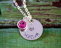 SALE - Personalized Girls Necklace - Heart Necklace - Little Girls Jewelry -  Kids Necklace - Birthday Gift - Daughters Name - Party Favor