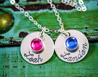 SALE • Mom Necklace • Birthstone Jewelry Personalized Mother Necklace • Sterling Silver Mother Gift •Custom Mom Gift Kids Name Gift Children