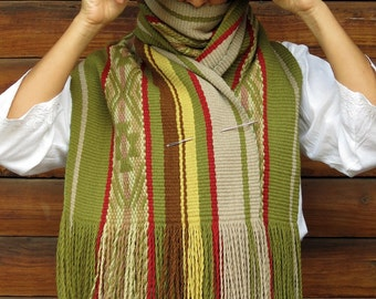 Mapuche design, blanket scarf wool, handwoven textile, couverture, wool shawl, echarpe, bed runner, echarpe natural dyes, handloomed