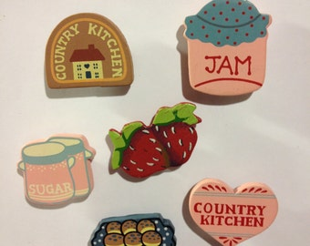 Set of 6 Country Kitchen Magnets