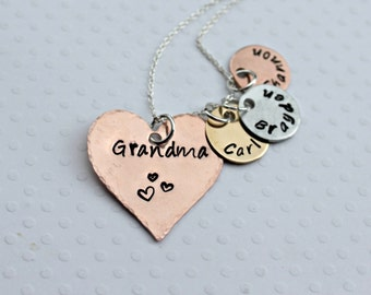 Grandmother Necklace Children's Names Necklace Mixed Metal Mothers Necklace Stamped Grandchildren Necklace