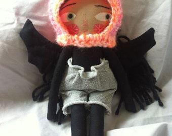 Mini folk art doll black bat