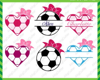 Soccer Football Ball Split Heart frame SVG DXF PNG eps sports Cut Files for Cricut Design, Silhouette studio, Sure Cuts A Lot, Makes cut