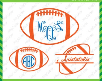 Football ball Monogram Split Frame SVG DXF PNG eps sport Cut Files for Cricut Design, Silhouette studio, Sure Cuts A Lot, Makes the cut