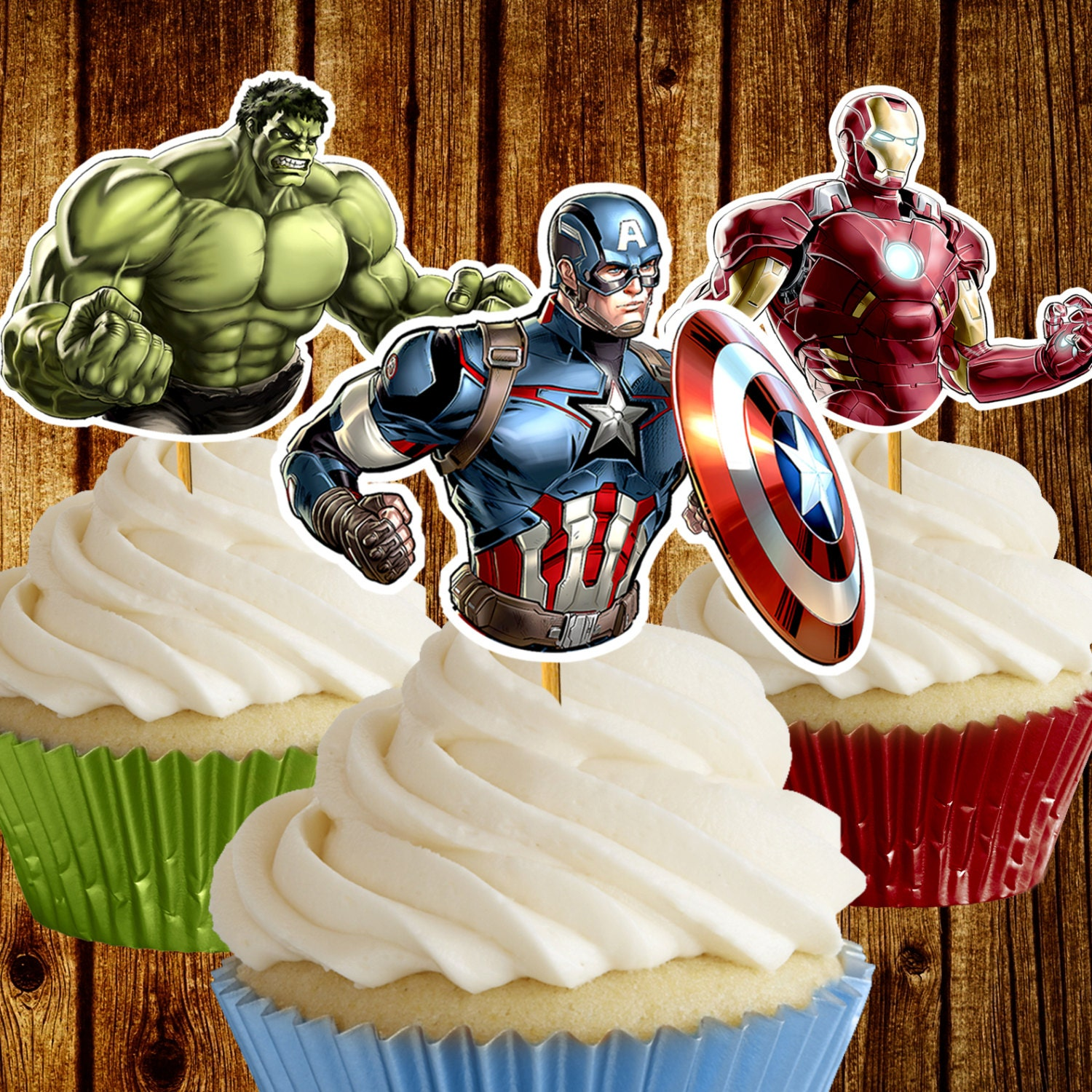 Avengers Cupcake Toppers / Superhero cupcake toppers