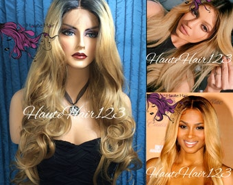 Kylie Jenner Ciara Human Hair Blend Golden Blond Ombre Rooted Realistic Lace Front Wig With Multiple Parting