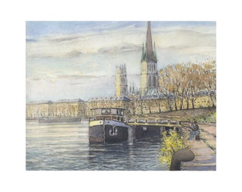 the seine at rouen (watercolor)