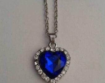 Sapphire Rhinestone Heart Necklace