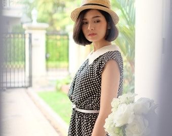 Black/White Poka Dot Cute Vintage Dress/1980s/Vintage Japanese Dress