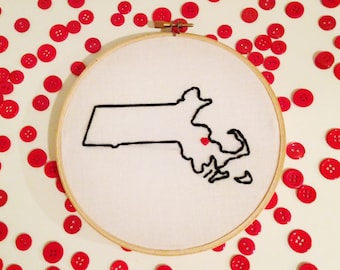 Custom Home State Embroidery Hoop