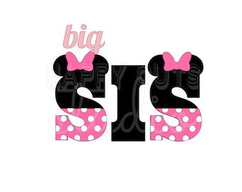 Big Sis Lil Little Sister Sis Pregnancy Announcement New Baby Surprise Minnie Mouse Matching Family Iron Disney On Decal Vinyl for Shirt 101