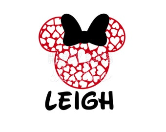 Hearts Pattern Minnie Decal / LOVE Mickey Mouse Valentine's Day heart newlyweds honeymoon wedding Disney Iron On Decal Vinyl for Shirt 142