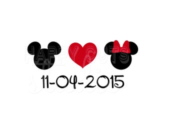 Personalized Mickey Love Minnie Disney Valentine's Day Wedding Couple Matching Anniversary Honeymoon Disney Iron On Decal Vinyl 4 Shirt 110