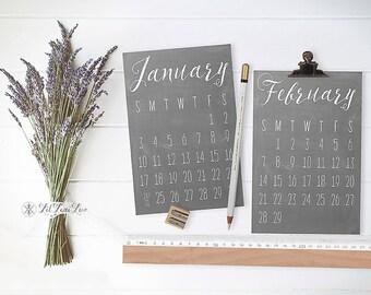 2017 Printable Desk Calendar   Hand Lettered Chalkboard Calendar Clipart   Printable 4x6 PDF and JPG   Minimal Black and White Calligraphy