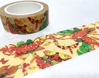 Butterfly moth washi tape 10M colorful insect deco masking tape garden insect drawing sticker tape retro garden plant decor scrapbook