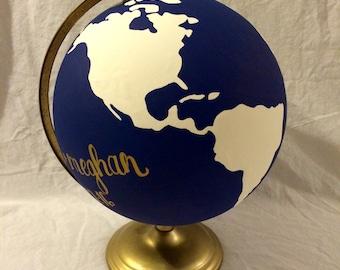 Hand-Painted Navy & Ivory Globe