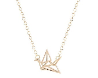 Necklace origami crane 18 k gold plated