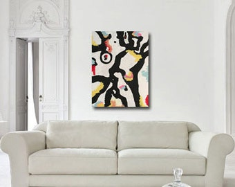 original large abstract black and white painting, modern painting, contemporary art, home decor, geometric art, large acrylic on canvas