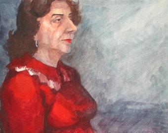 Vintage watercolor painting portrait