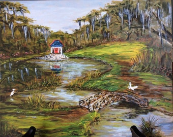 Water Garden Avery Island Louisiana art print, Acadiana art, Cajun art, Garden painting, Jungle Gardens, Spanish moss oak, Buddha temple