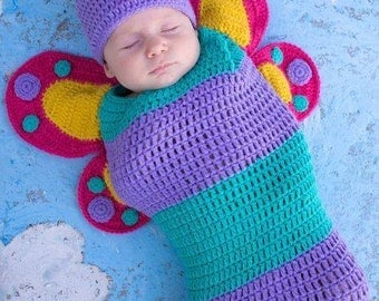 Crochet Butterfly Cocoon and Cap