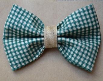 Green Checkered Dog Bow