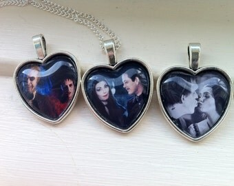 Creepy Couples Heart Glass Cabochon Necklaces - Beetlejuice + Lydia / Lily + Herman Munster / Morticia + Gomez Addams