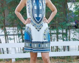 African Dashiki Dress Ankara Dress Hippie Dress Tribal Print Tunic Gypsy Dress Bohemian Dress Festival Top Party Dress African Clothing