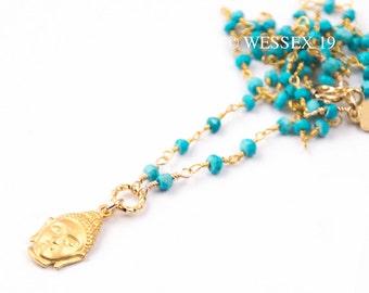 Turquoise Buddha Necklace | Buddha Charm Necklace | Yoga Charm Necklace | Yoga Jewelry | Yoga Buddha Necklace | Boho Buddha Necklace