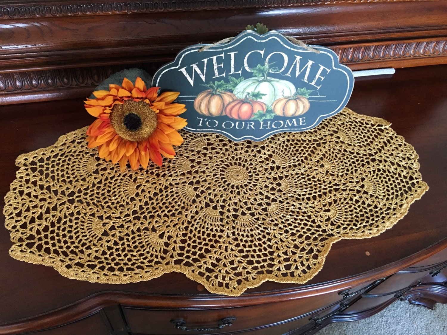 Gold crochet doilies doily by myvintagesoulbyruth