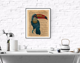 Color Toucan Print, Dictionary Page Art Print,Vintage Dictionary Page Art,Vintage Art Print ,Printable Tropical Toucan Art,Toucan Wall Art