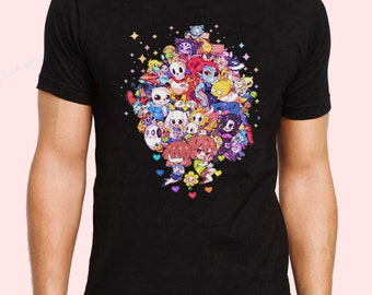 Undertale All Characters Chibi Cute Version Game Inspired T-shirt. Male and Female Apparel