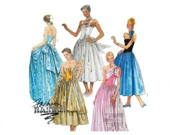 Uncut McCall's 2800 Sewing Pattern, Women's Dress, Floorlength Gown, Party Dress Graduation, Masquerade Dress, Ball Gown, Pleated Skirt