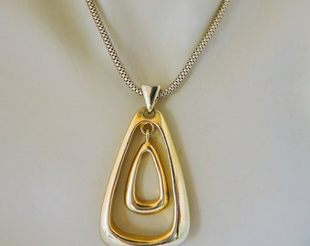"""Vintage Boho Chic Geometric Triangle Pendant Statement Necklace Graduated Triangles Gold Tone Snake Chain 18"""" Chain, 2.5"""" Pendant."""