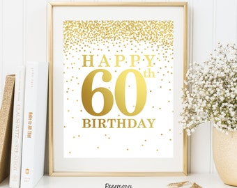 Happy 60th Birthday, Set of 2 Printables, 60th birthday decor, 60th birthday sign, Birthday party decorations, Birthday Printable Banner