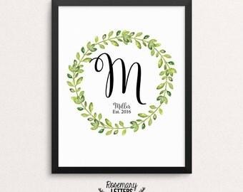 Personalized Custom Monogram, Last Name and Established Printable, Wedding Sign, Wedding Printable, Wedding Gift, Family Sign