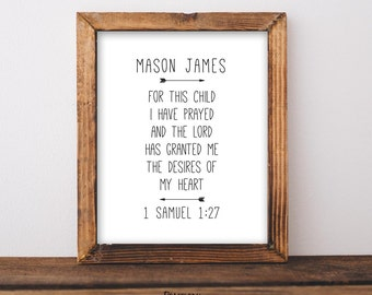 For This Child I Have Prayed, 1 Samuel 1:27, Custom Name Printable, Personalized Gift, Baby Shower Gift, Nursery Decor, Bible Verse