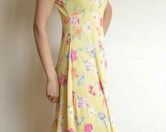 90's dress / VINTAGE 90's Clueless dress / Yellow mini dress / 90's floral dress