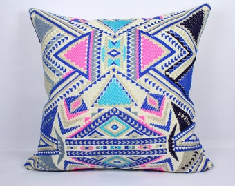 Geometric pillow cover 16x16 pillow cover 18x18 pillow cover 20x20 pink sofa pillows multi color throw pillow cases blue pillow cover 26x26