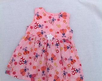 Girls ladybug print dress, age 0/3months, handmade, one only