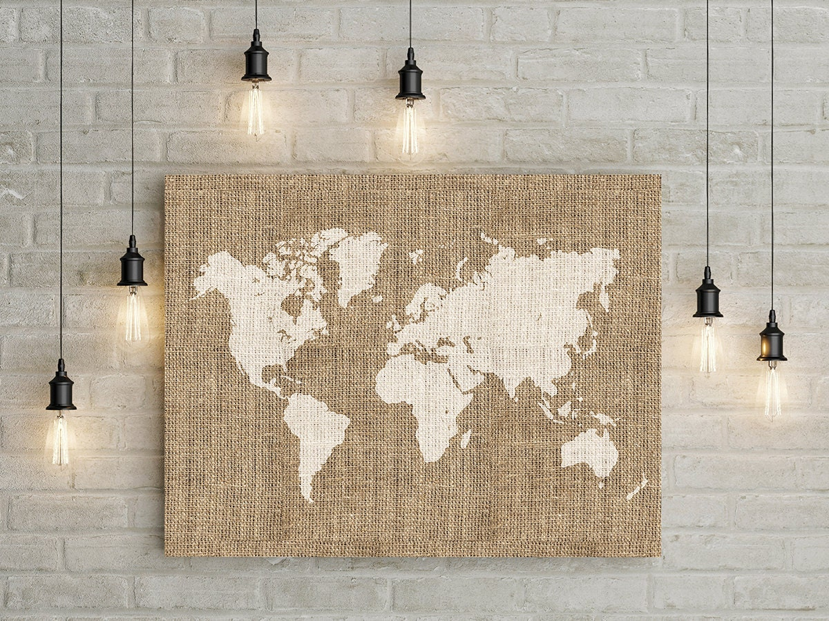 Rustic Burlap Wall Decor : Printable burlap world map wall art rustic decor home
