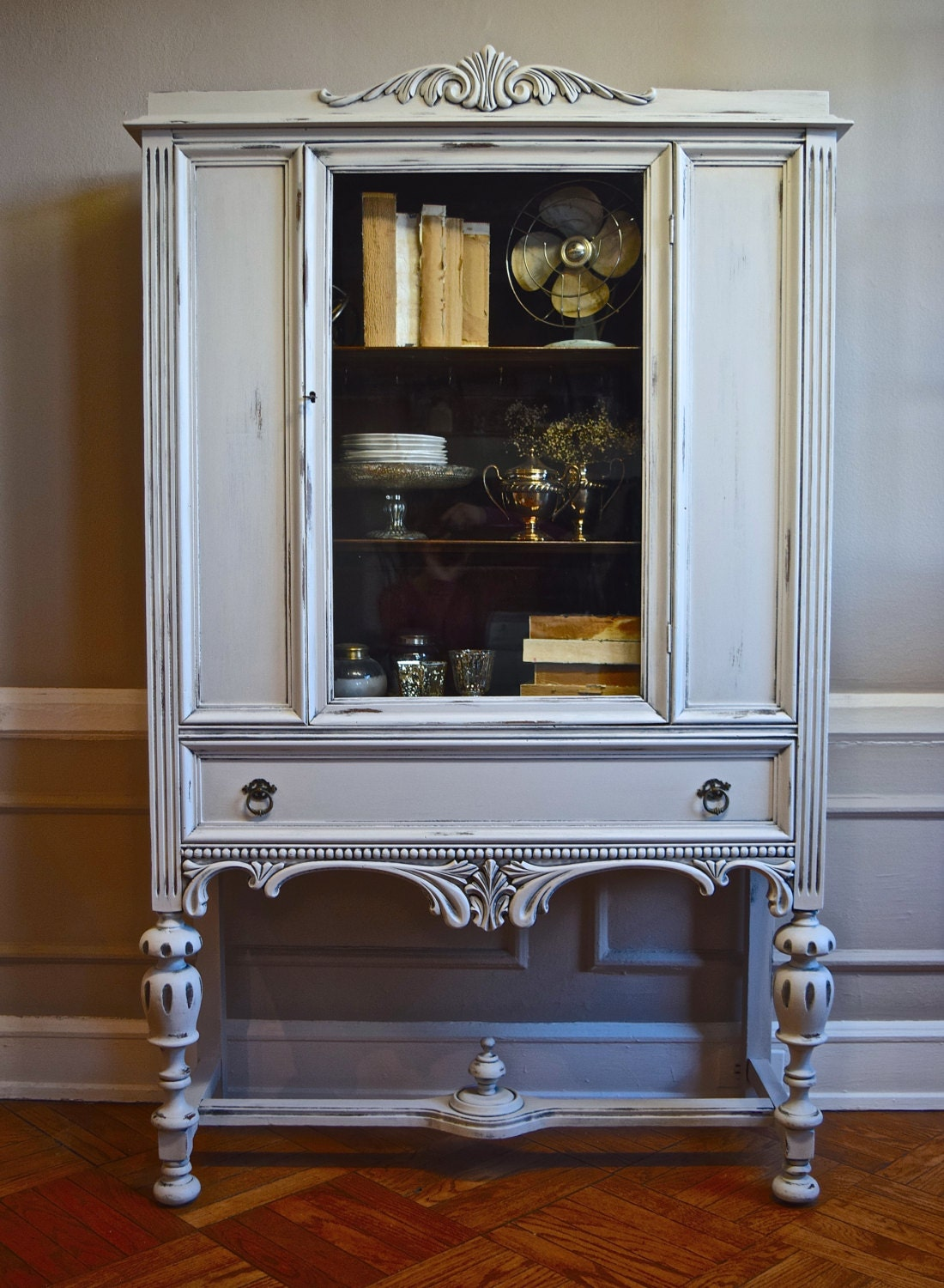 Sold Antique Solid Wood China Cabinet