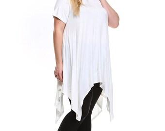 Fashionazzle Women's  Plus Size Solid Asymmetrical Shark Bite Rayon Tunic