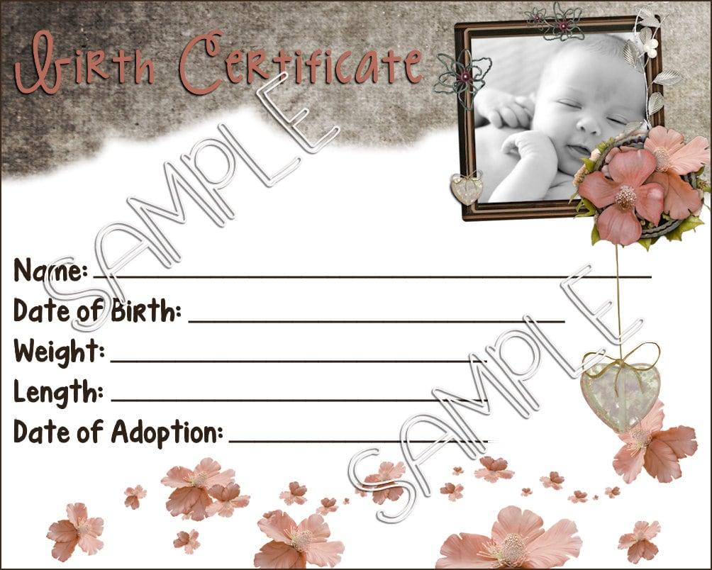 Vintage baby reborn baby doll birth certificate instant for Doll birth certificate
